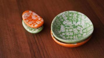 Set of empty ceramic dishes and stands for sushi photo