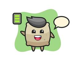 Personaje de mascota de saco con gesto enérgico. vector