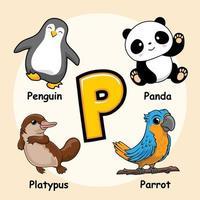 animales alfabeto letra p para pingüino panda ornitorrinco loro vector