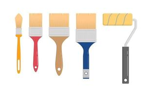 Set of wall painter tool in flat vector illustration