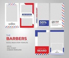 Barbers social media story template 6 in 1 set. vector