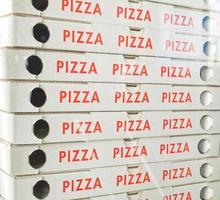 Cardboard pizza box photo
