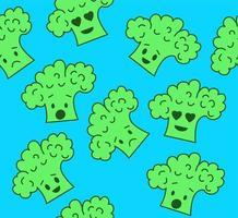 Broccoli emojis on blue background. Seamless vector