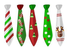 Set of christmas ties with festive decoration vector