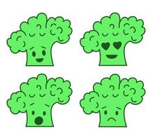 Sel of emoji broccoli stickers isolated on white vector