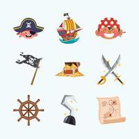concepto de iconos de niño pirata vector