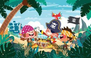 Pirate Kids Treasure Hunt Concept vector