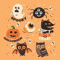 Set of Halloween Monster Sticker vector