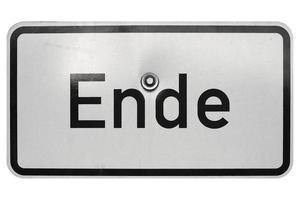 signo alemán aislado sobre blanco. end end foto