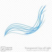 Transparent blue wavy line, ready export to PNG file. Vector