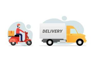 Delivery service transportation object vector