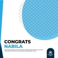 Graduation congratulation feed design social media post template vector