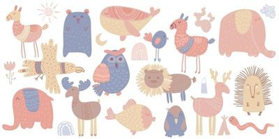 Cute scandinavian animals. Lama, whale, deer, elk, lion, owl, elephant vector