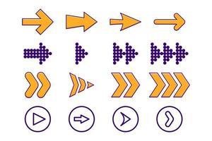 Arrows color set icons vector