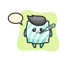 pillow mascot character with fever condition vector