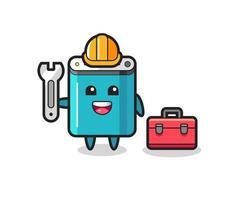 Mascot cartoon of power bank as a mechanic vector