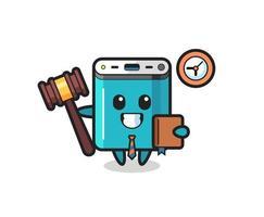 Mascot cartoon of power bank as a judge vector
