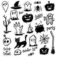 Set of hand drawn Halloween doodle element. Vector illustration.