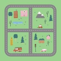 Kids city map of transport and road. Vector illustration.