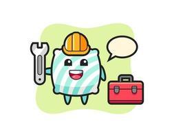 Mascot cartoon of pillow as a mechanic vector