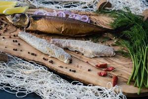 pescado ahumado diferentes canapés foto