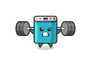 dibujos animados de la mascota del banco de energía con una barra vector