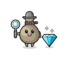 Ilustración de personaje de saco de dinero con un diamante vector