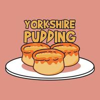 cute yorkshire pudding on top of plate vector