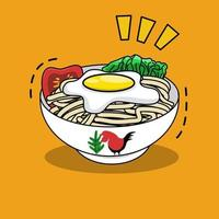 delicious instant noodle in a bowl with fried egg on top vector