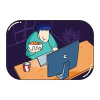 eat in front of pc while work from home vector