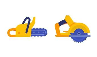 Chainsaw and circular saw icons on white vector