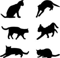 six cats silhouettes vector