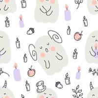 Doodle style seamless pattern with ghosts and candles. vector