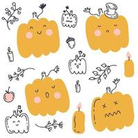 Doodle Halloween pumpkins collection with autumn elements vector