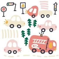 Pastel colored vector collection of cars