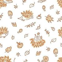 Delicate vector seamless autumn pattern with checkered hedgehogs