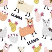 Seamless pattern of lamas, cactuses and text LLAMA vector