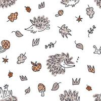 Free hand drawing seamless autumn pattern with checkered hedgehogs vector