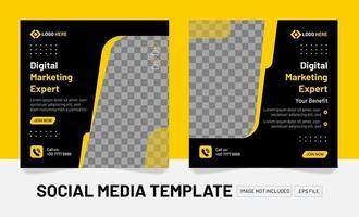 elegante publicación de diseño de mesia social de marketing digital vector