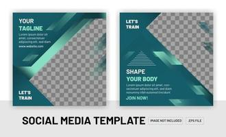 Fitness training social media layout post suitable for gym business vector