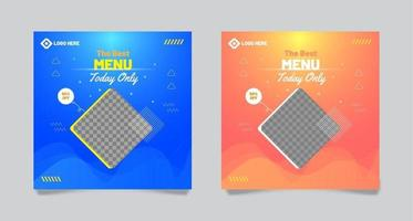 Food Menu Banner Template with orange and blue color vector