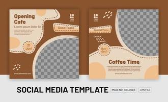 Coffe shop social media post template vector