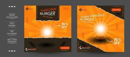 Burger Social Media Layout Post Termplate vector