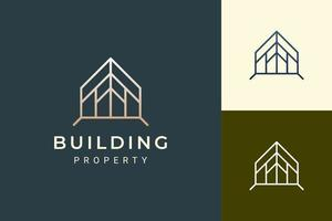 Home or resort logo in luxury style for real estate business vector