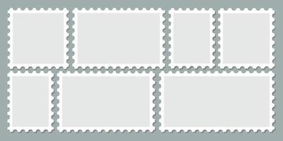 Set of empty postage stamp frame vector. Different blank postmark vector