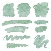 Decorative art vector watercolor textured brush strokes shapes set.