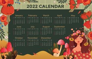 Template Calendar 2022 with Beautiful Ornament vector