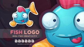 Cartoon character childish animal fish - cute sticker. vector