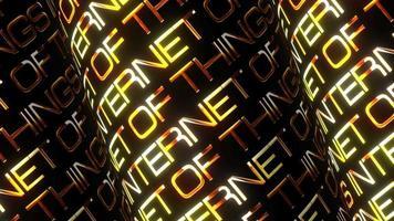 internet de las cosas texto dorado patrón de tubo 3d video