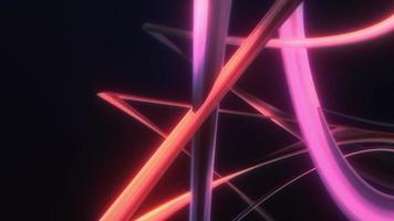 Palos de resplandor de bucle 3d retorcidos en un semicírculo giran video
